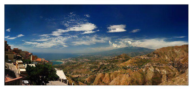 таормина, вид, этна, сицилия, вулкан, италия Вид на красавицу Этнуphoto preview