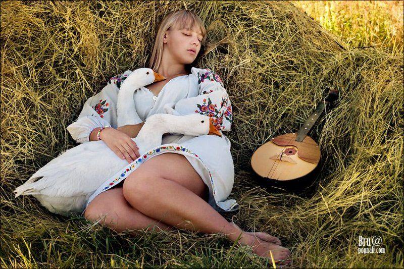девушка, гуси, сено, сон Птичьи сны..photo preview