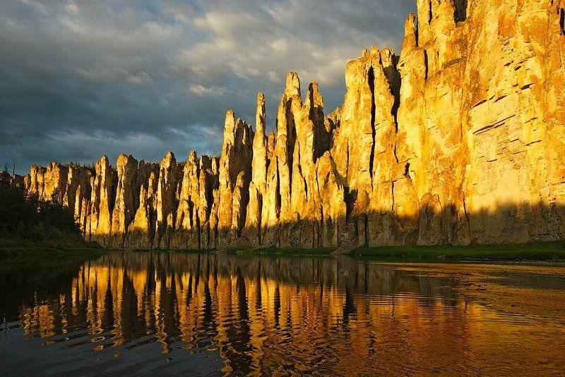 Река Синяя, Синские столбы, Якутия Золотая стенаphoto preview
