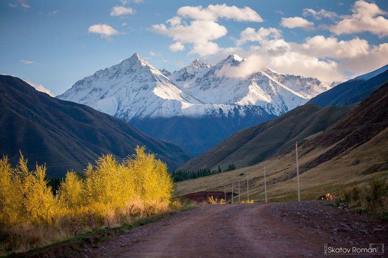 кыргызстан, тяньшань, горы, кыргызский хребет, киргизия, путешествия, закат, осень, снег, На закате. Белогорское ущельеphoto preview