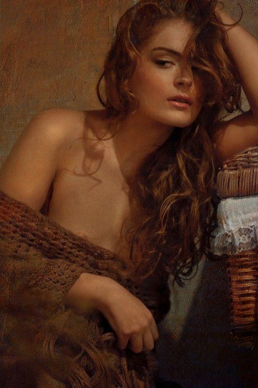 девушка, женщина, красота, ню, холст, картина, плед, вечер, истома, Истомаphoto preview