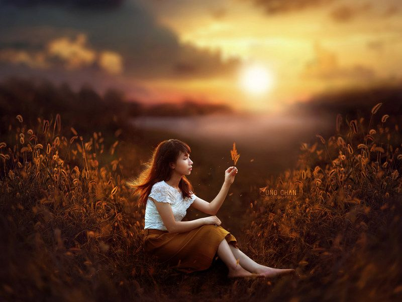 girl, sunset, flower, light, yellow, beautyful Ngoc Anhphoto preview