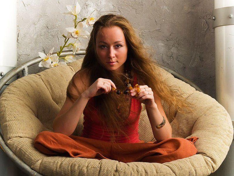 девушка, орхидея, портрет ***photo preview