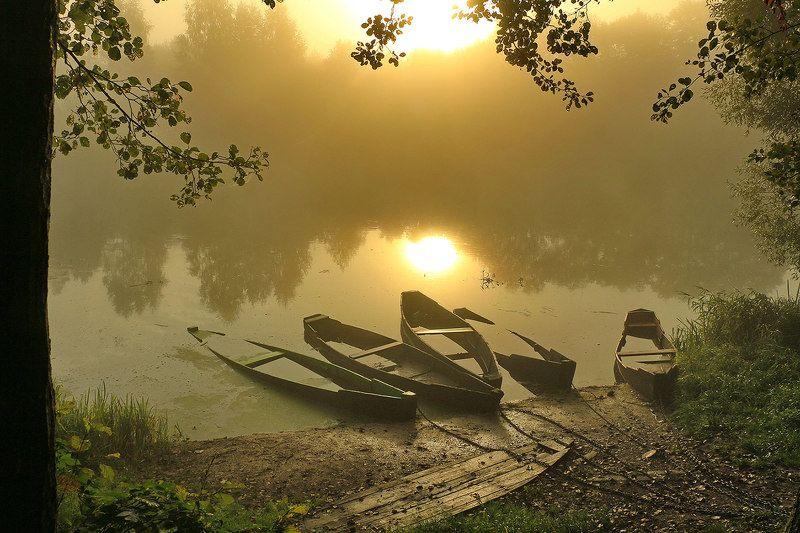 утро,туман, солнце, лодки После ночного ненастьяphoto preview