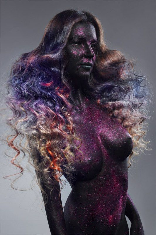 sexy, portrait, girl, mua,makeup, hair, purple, model, black, glitter Darck beautyphoto preview