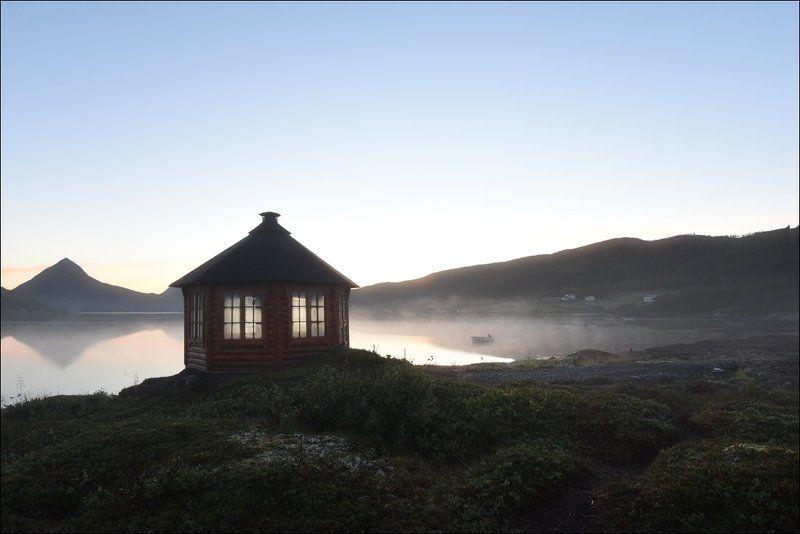 Норвегия, Свет, Сенья, Туман, Утро, Фьорд Свет раннего утраphoto preview