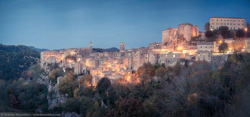 Сорано, Италия, Тоскана, город, архитектура, панорама Средневековый городphoto preview