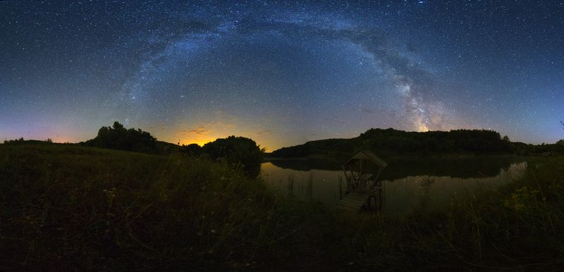 ночь, звезды, Млечный путь, небо, отражение, беседка, пруд, озеро Звездный мост над прудомphoto preview