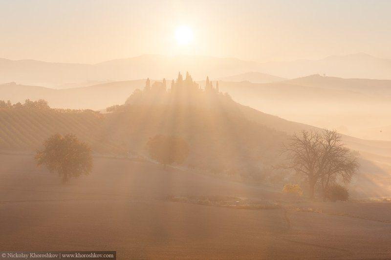 Италия, Пейзаж, Природа, Рассвет, Тоскана Солнечное утроphoto preview