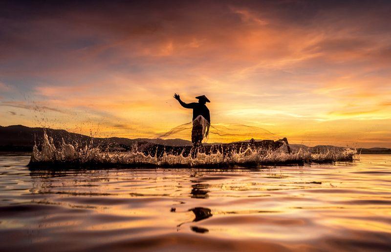 net; wallpaper; thailand; burma; tropical; river; travel; chaingmai; sunrise; province; pattaya; myanmar; lake; people; poor; balance; bangkok; asia; poverty; kayak; tradition; blue; laos; sunset; sukhothai; sky; boat; tourism; vintage; water; nature; job Fisherman in action when fishing in the lakephoto preview
