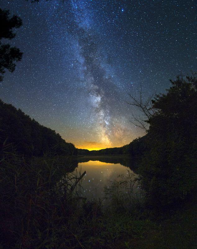 Ночь, небо, Млечный путь, звезды, отражение, озеро, берег Отражениеphoto preview