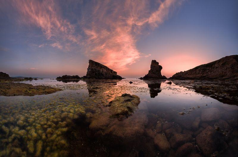 sea, rocks, landscape, morning, sunrise, bulgaria, two ships Two ships: calm morningphoto preview