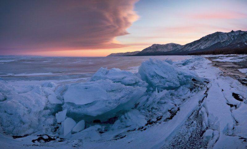 Байкал, лёд, закат, горы После заката на мысе Заворотный.photo preview