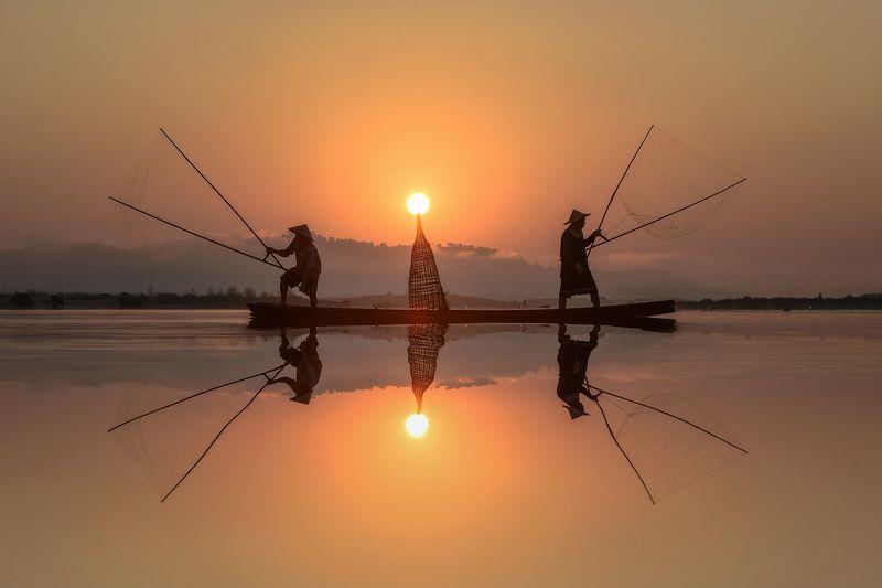 fisherman,fish,asia,asian,light,nets, Two fisher x\'men photo preview