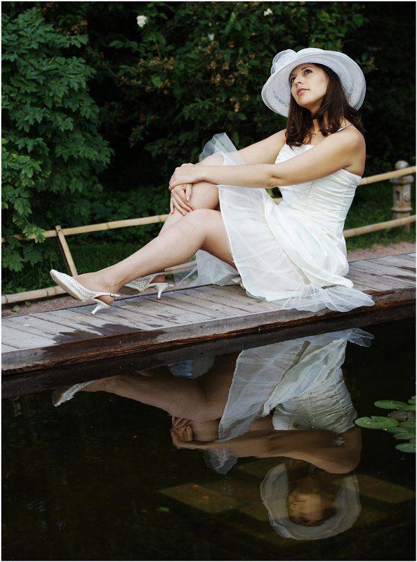 лето, сад, молодость, красота, платье белое, девушка Лебедь белая...photo preview