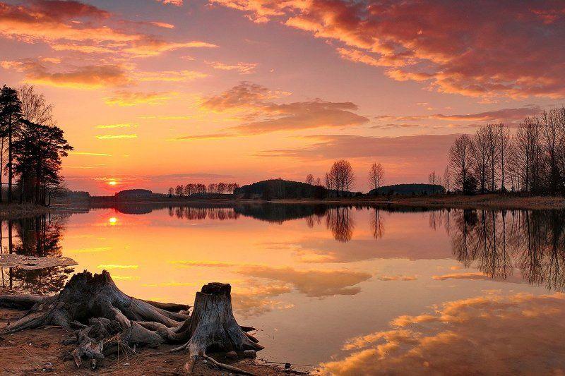 Цнянка, закат Закат над озеромphoto preview