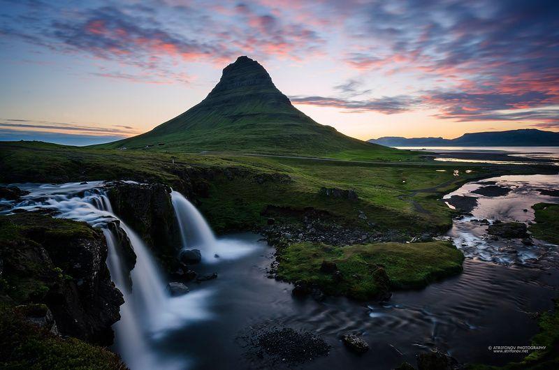 Kirkjufell, Kirkjufellsfoss, Iceland, waterfall, midnight sun, river, mountain, travel, Europe, summer, water, sky, long exposure,  Kirkjufellsfossphoto preview