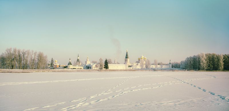 Пейзаж, природа, Валдай, зима, утро, монастырь, панорама Умиротворениеphoto preview