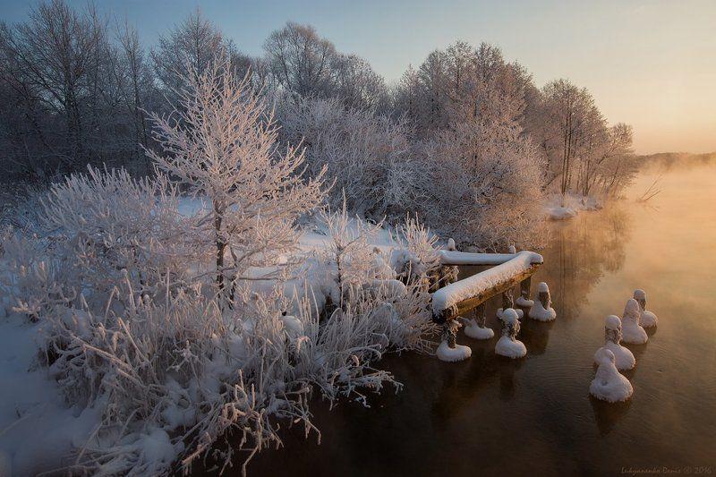 2016, Вода, Деревья, Зима, Иней, Озеро, Рассвет, Россия, Снег, Утро, Шатура ***photo preview