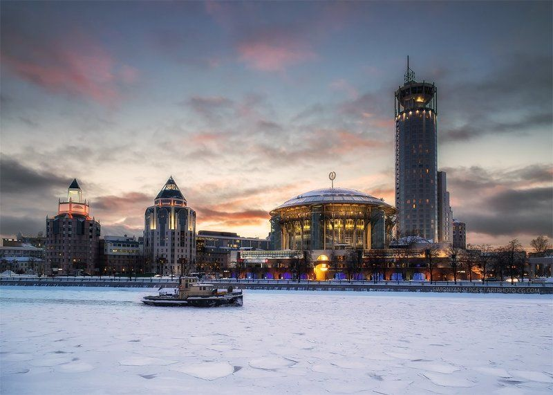 закат, лед, москва, река Будни \