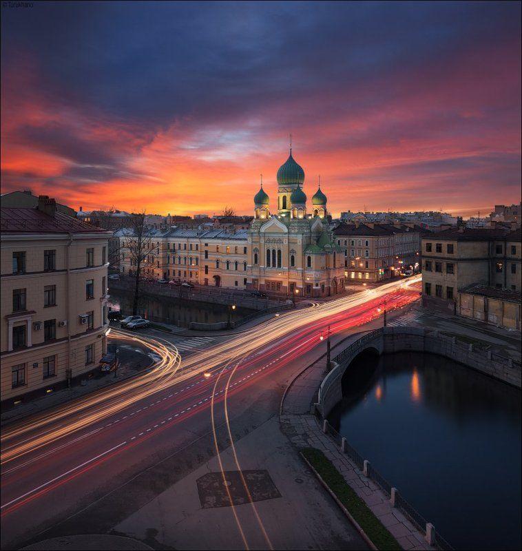 Вечер, Закат, Санкт-петербург, Церковь Свято-Исидоровская церковьphoto preview