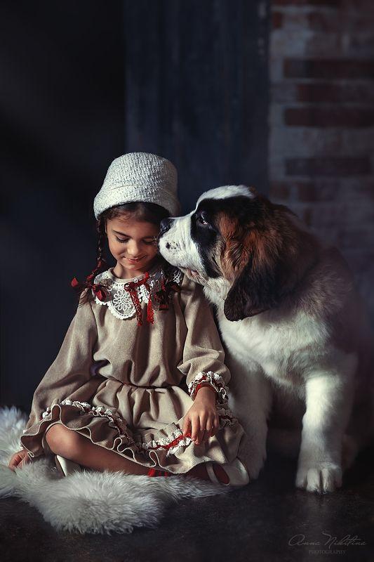 девочка, собака, винтаж Нежностьphoto preview