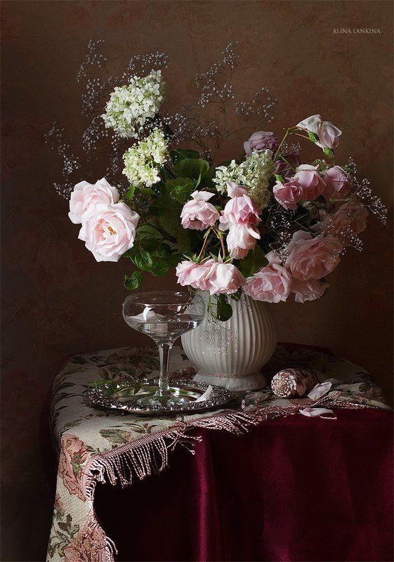 натюрморт, розы, букет, цветы, алина ланкина, фотонатюрморт, бокал ***photo preview