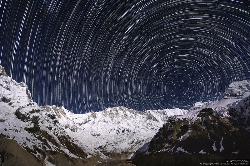 Непал, Гималаи, Аннапурна, ночь, звезды, полнолуние, луна, горы, базовый лагерь, треккинг, трек, снег, зима, пейзаж, небо Круг Жизни (Уроборос) photo preview