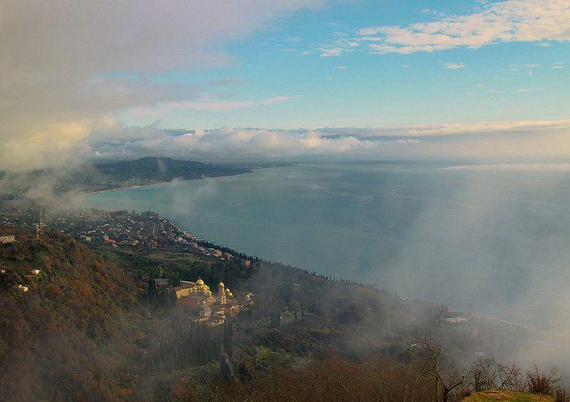 абхазия,новоафонский монастырь,море, туман. *****photo preview