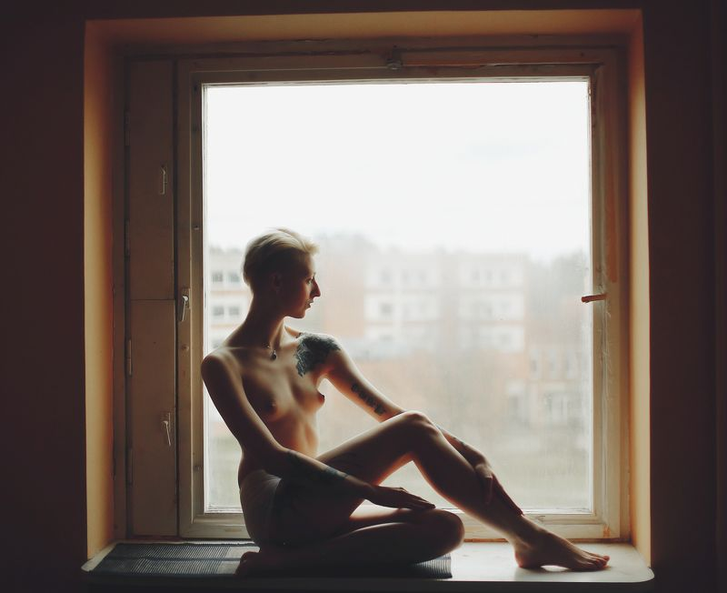 morning, window, girl morningphoto preview