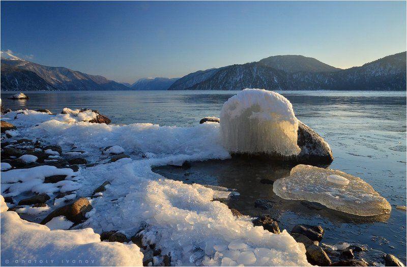 Вечер, Горный алтай, Зима, Льды, Телецкое озеро ***photo preview