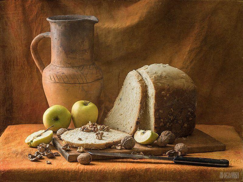 хлеб, орехи, яблоки, кувшин, натюрморт, олимпус, любомил Вкусный белый хлебецphoto preview