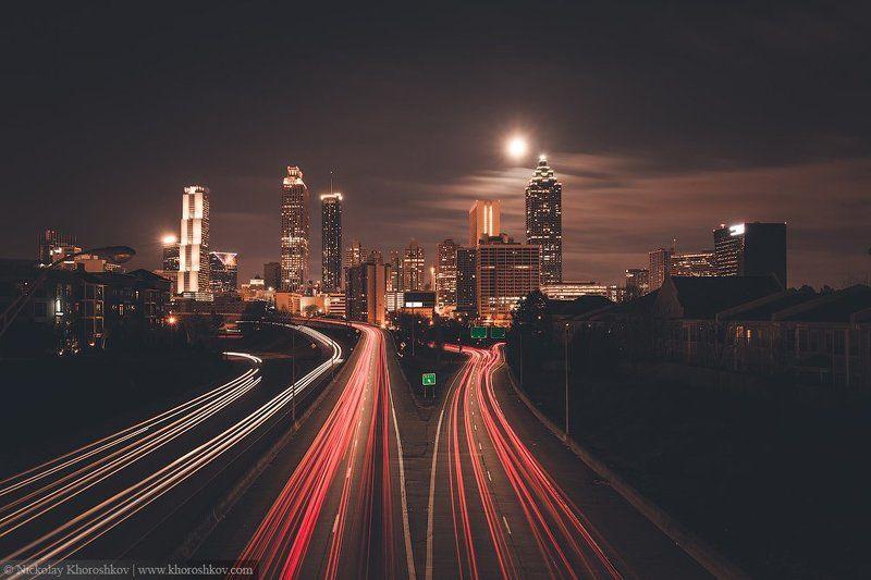 Atlanta, City, Cityscape, Usa, Атланта, Город, Городской пейзаж, Сша Полночь в городеphoto preview