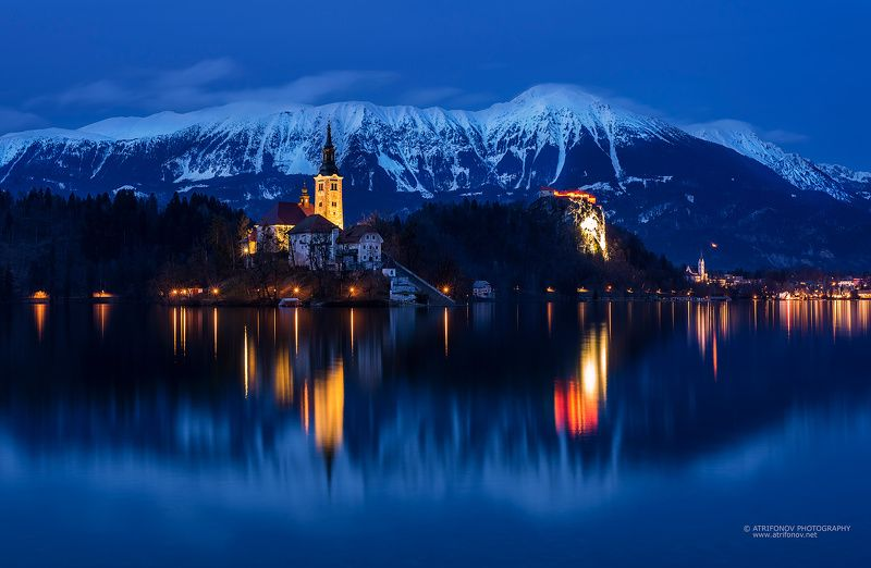 Bled, lake, Slovenia, Europe, night, mountain, winter, church, island, water, blue hour, snow, Alps, lights, rewflections Lake Bledphoto preview