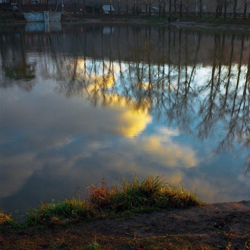 Вода., Облака., Осень., Плотина., Утро. \