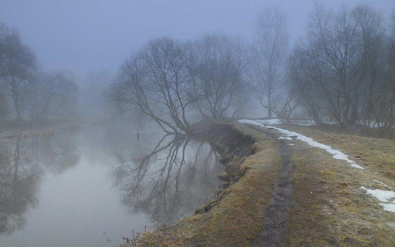 Свислочь, утро,  туман Весна на Свислочиphoto preview