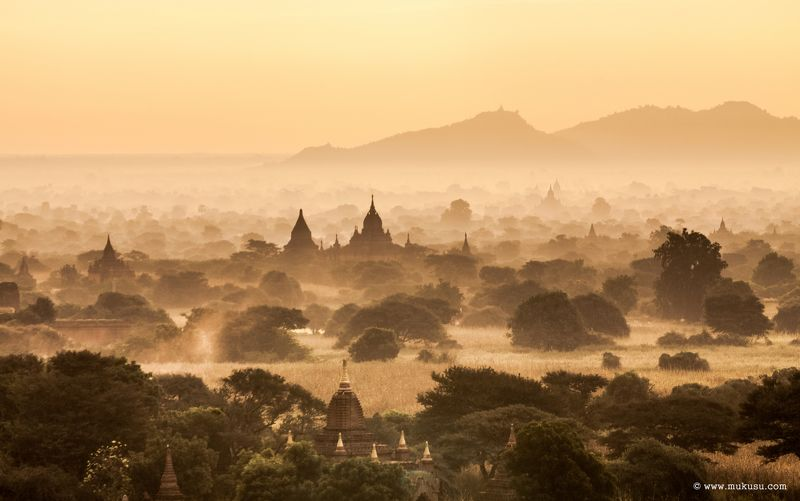 бирма, мьянма, баган,путешествия,рассвет рассветный Баганphoto preview