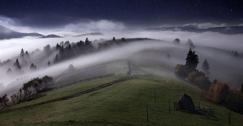 звезды, карпаты, ночь, туман ***photo preview