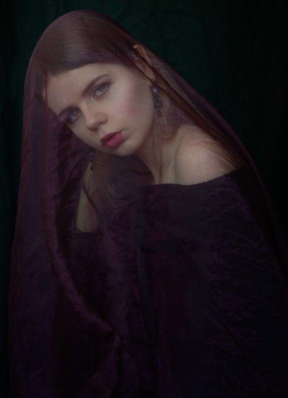 портрет, девушка, вуаль, фиолетовый, portrait, girl, veil, violet, beauty Софиphoto preview