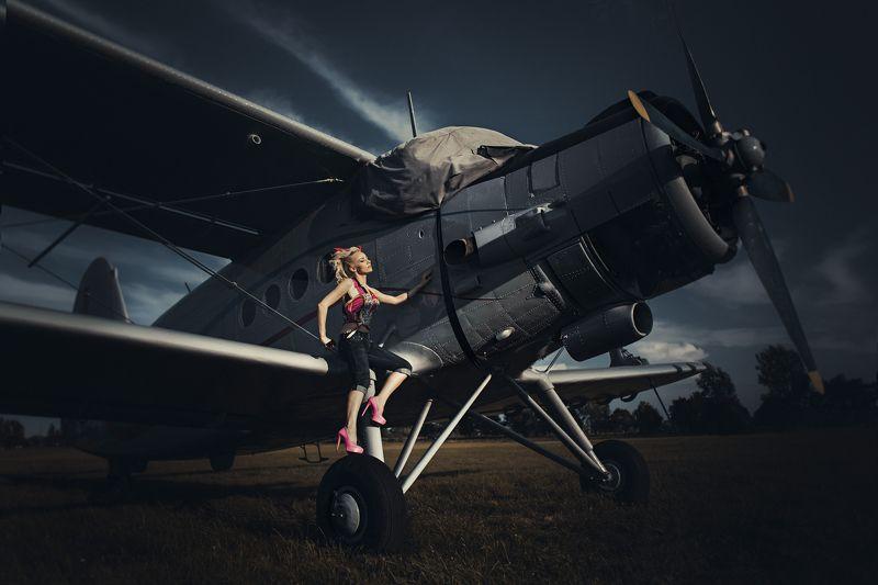 Fashion, Outdoor, Plane, Portrait On the planephoto preview
