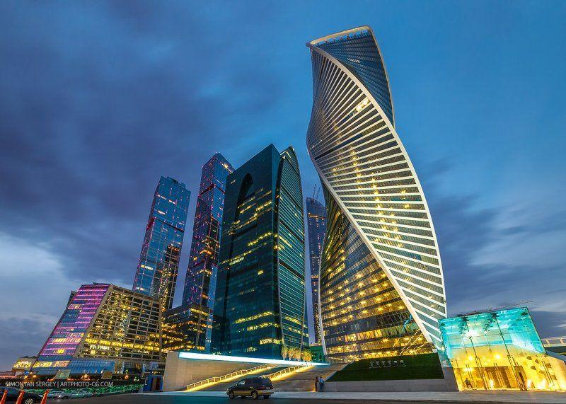 москва, сити, бизнес, центр, вечер, закат, подсветка Москва-Ситиphoto preview