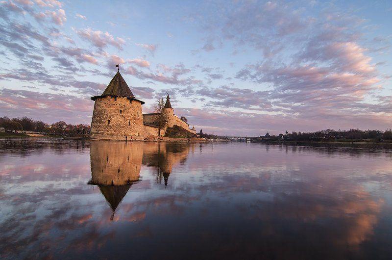 закат, кремль, крепость, кром, небо, псков, река ***photo preview