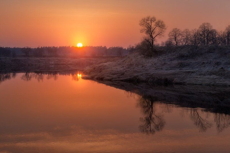 Spring, Latvia, River, Sunset, Landscape Early springphoto preview