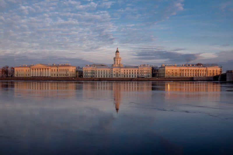 санкт, петербург, львиный, спуск, нева, река, рассвет, март, кунсткамера  Обычное мартовское утро...photo preview