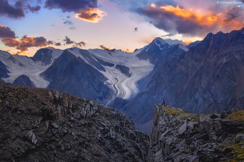 Sunset, Актру, Алтай, Горный алтай, Горы, Закат, Лето Ущелье Актруphoto preview