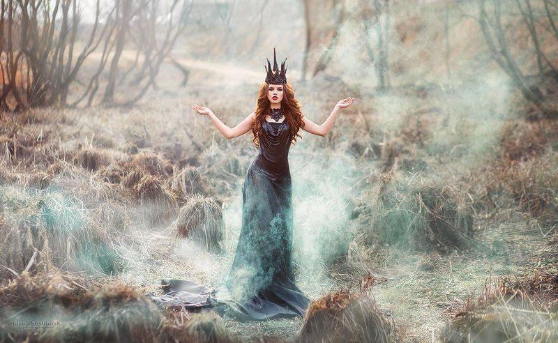 черный, дым. болото, темная королева, черная корона Dark Queenphoto preview