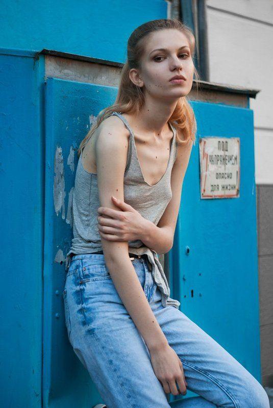 портрет, девушка, блондинка, гранж, джинсы, girl, blonde, denim, grunge, blue, beauty, portrait Аннаphoto preview