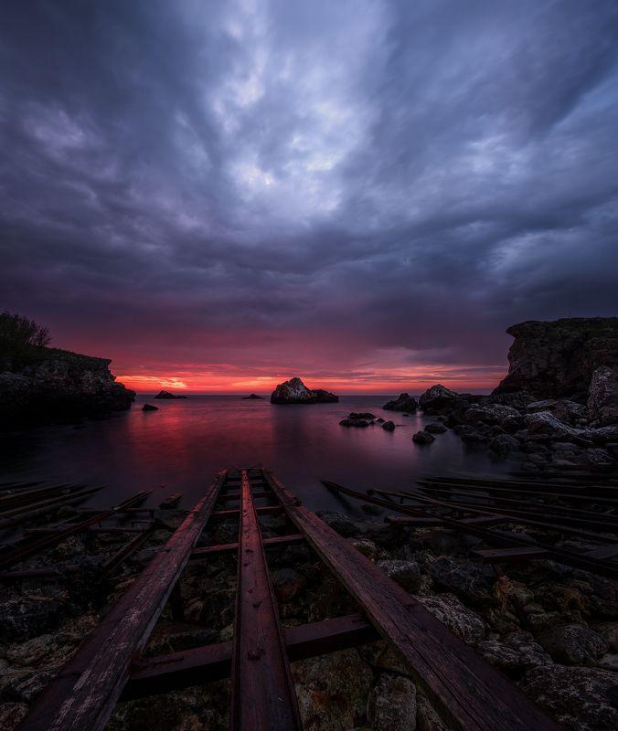 bay, rails, sunrise, sea, tulenovo, bulgaria В заливе Тюленовоphoto preview