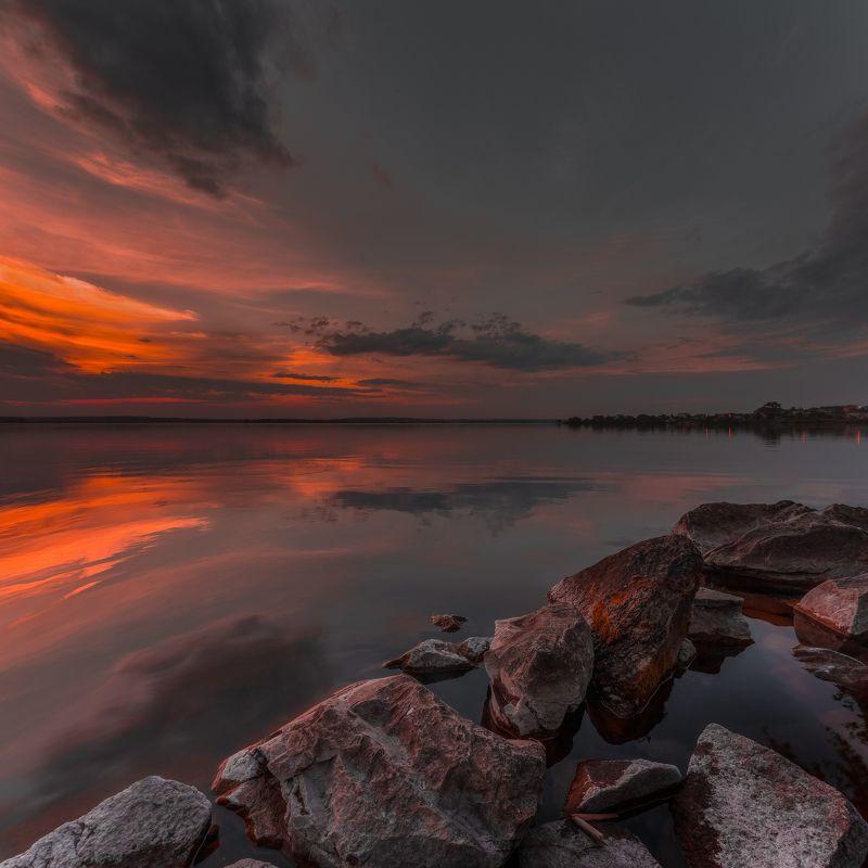 челябинск, сосновка, закат, озеро, облака,  t_berg Тихий вечер с комарамиphoto preview