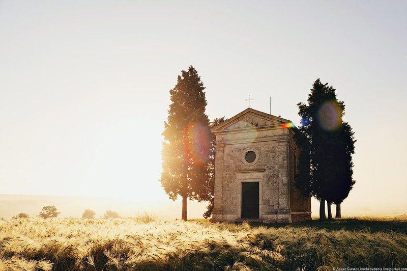 Италия, Пейзаж, Рассвет, Тоскана Chapel of Our Lady of Vitaletaphoto preview